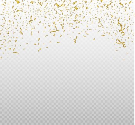 Confeti dorado, aislado sobre fondo celular. Ilustración vectorial festiva Confeti minúsculo con cinta sobre fondo blanco. Evento festivo y fiesta. Vector amarillo.