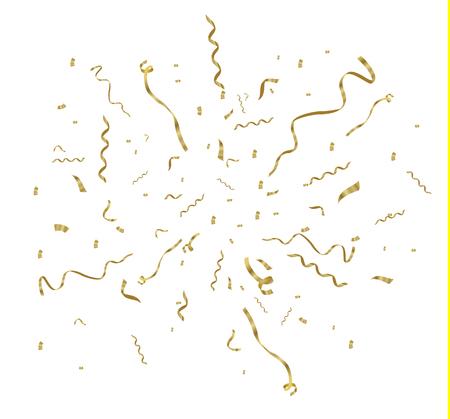 Confeti dorado, aislado sobre fondo celular. Ilustración vectorial festiva Confeti minúsculo con cinta sobre fondo blanco. Evento festivo y fiesta. Vector amarillo. Ilustración de vector
