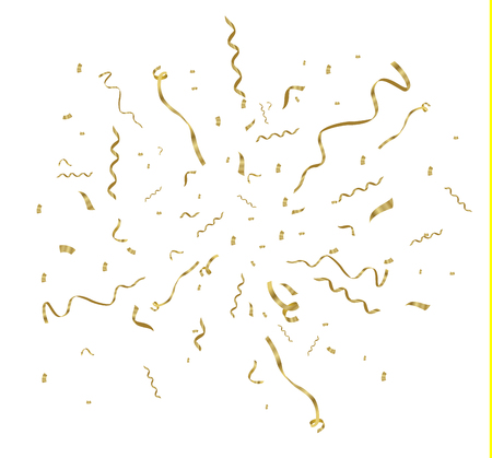 Golden confetti, isolated on cellular background. Festive vector illustration Tiny confetti with ribbon on white background. Festive event and party. Vector yellow. Vektorgrafik