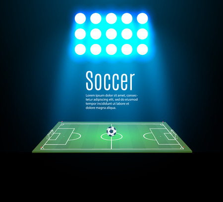 football stadium with a ball on a football field and searchlight with an abstract glitter light. viewers at a football stadium at night, vector illustration. Illusztráció