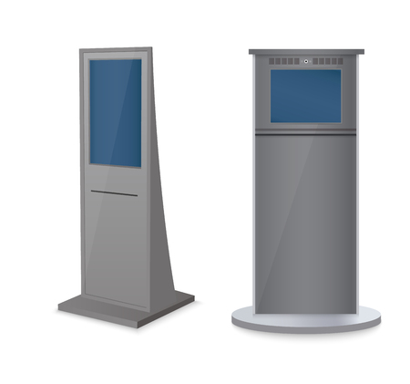 Set of information kiosks with blank screens isolated on white background. Payment terminal mockup. Vector illustration Illustration