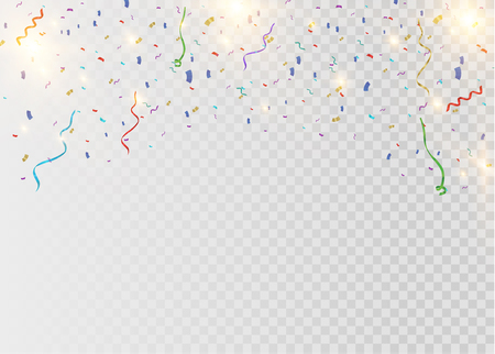 Golden confetti, isolated on cellular background. Festive vector illustration Tiny confetti with ribbon on white background. Festive event and party. Vector yellow. Ilustracje wektorowe