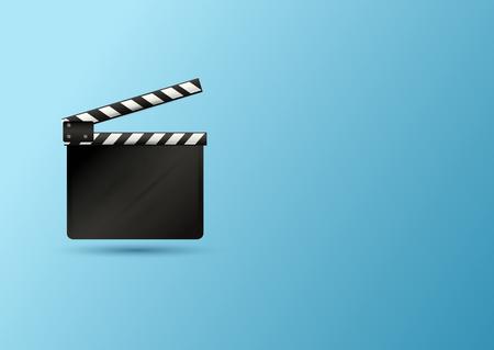 Realistic clapper.cinema.Board on a white background.film.time.vector illustration. Çizim