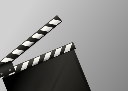 Realistic clapper.cinema.Board on a white background.film.time.vector illustration. Illustration