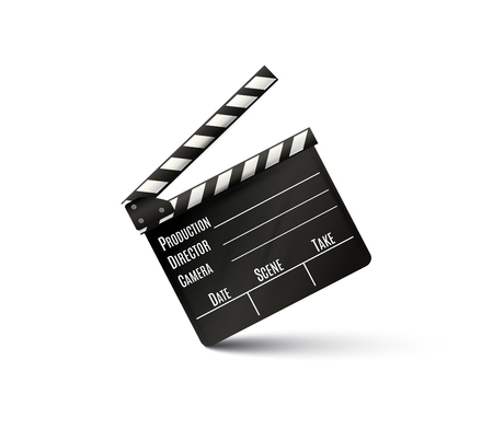 Realistic clapper.cinema.Board on a white background.film.time.vector illustration. Çizim