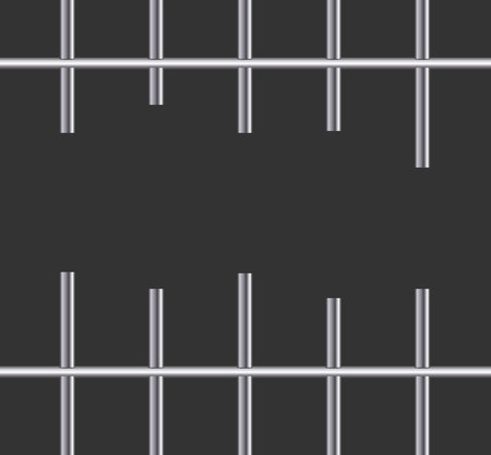 Realistic metal prison grilles.Thuster machine, iron prison cell.metallic product.Vector ilustration. Illustration