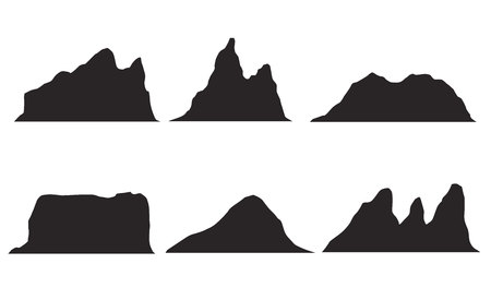 Set of black and white mountain silhouettes.Background border of rocky mountains.