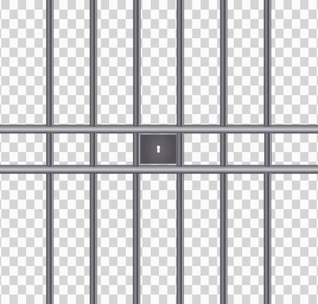 Rejillas de prisión de metal realista. Máquina de empuje, celda de prisión de hierro. Producto metálico. Ilustración de vector.