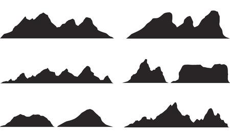 黒と白の山のシルエットのセット。岩山の背景の境界線。