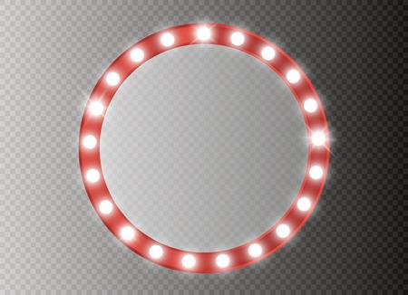 Makeup mirror isolated with gold lights. Vector illustration Vektoros illusztráció