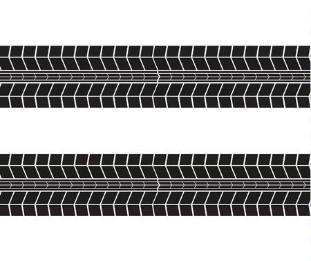 Impronte di pneumatici. Illustrazione vettoriale su sfondo bianco. Vettoriali