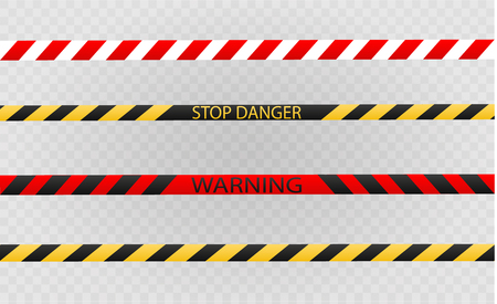 Isolated lines of insulation. Realistic warning tapes. Signs of danger. Vector illustration, isolated on a cellular background. Yellow color Standard-Bild - 104843648