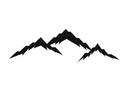 Mountain silhouettes overlook. Vector rocky hills terrain vector, mountains silhouette set isolated on white background for landscape design.