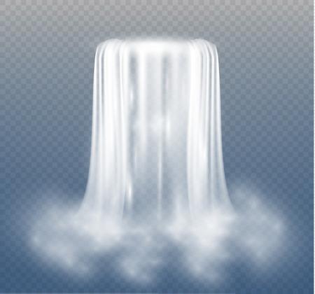 Transparente realista, naturaleza, corriente de cascada con agua clara y burbujas aisladas sobre fondo transparente. Elemento natural para la imagen del paisaje de diseño. Ilustración vectorial