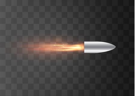 Una bala voladora con un rastro de fuego. Aislado en un fondo transparente. Ilustración vectorial