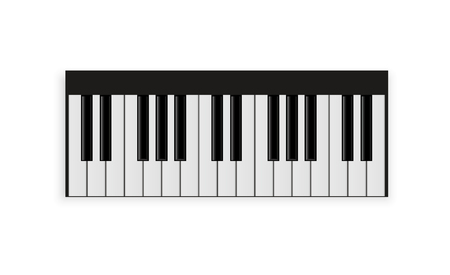 set of piano keys in illustration, black and white.