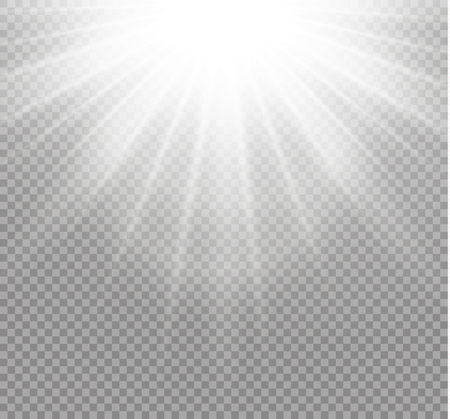 White glowing light burst explosion on transparent background. Vector illustration light effect decoration with ray. Bright star. Translucent shine sun, bright flare. Center vibrant flash.