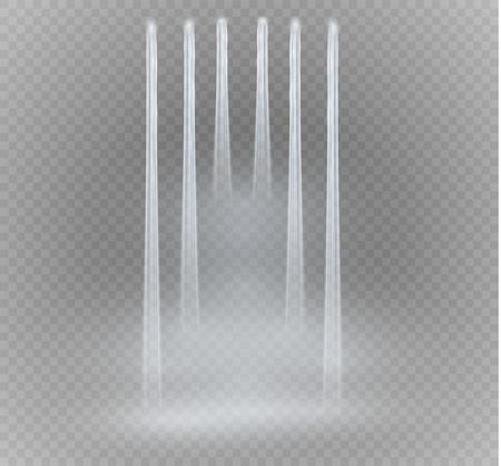 Realistisch transparent, Natur, Strom des Wasserfalls mit klarem Wasser und Blasen lokalisiert auf transparentem Hintergrund. Natürliches Element für Designlandschaftsbild. Vektorillustration