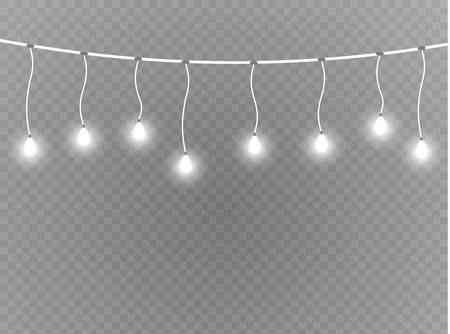 Christmas lights isolated realistic design elements. Glowing lights for Xmas Holiday cards, banners, posters, web design. Garlands decorations. Led neon lamp. Vector Illustration