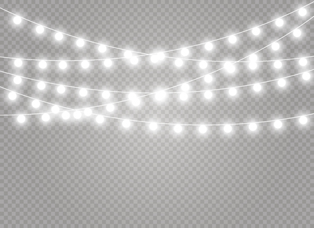 Christmas lights isolated realistic design elements. Glowing lights for Xmas Holiday cards, banners, posters, web design. Garlands decorations. Led neon lamp Banque d'images - 105302035