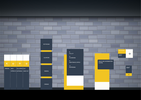 Conjunto de plantillas de diseño de sistema de señalización de dirección, poste, montaje en pared y tráfico. Concepto de señalización exterior e interior. Señal de monumento exterior de oficina, señal de pilón, señalización, construcción publicitaria. Ilustración de vector