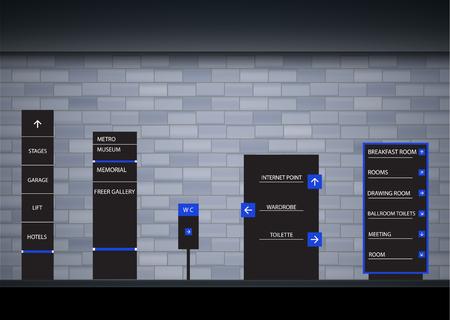 Set signage.Direction,pole, wall mount and traffic signage system design template set.Exterior and interior signage concep. Office exterior monument sign, pylon sign, signage,advertising construction. Illusztráció