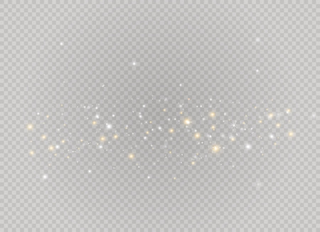 Dust white. White sparks and golden stars shine with special light. Vector sparkles on a transparent background. Christmas abstract pattern. Sparkling magical dust particles. Illustration