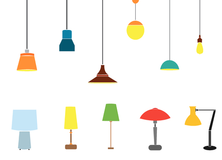 a set of electric lamps. Furniture and floor lamps and table lamps. home interiors fixtures. vector illustrations. Floor lamps and table lamps home energy furniture modern equipment.