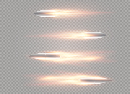 A flying bullet with a fiery trace. Isolated on a transparent background. Vector illustration. Ilustração