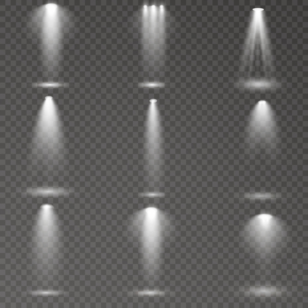 Reflektor świeci na scenie. światło wyłączny efekt lampy błyskowej obiektywu. światło z lampy lub reflektora. oświetlona scena. podium w centrum uwagi. Ilustracje wektorowe