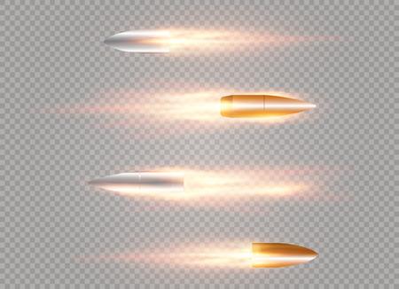 Une balle volante avec une trace de feu. Isolé sur un fond transparent. Illustration vectorielle.