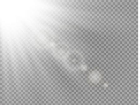 La lumière du soleil une conception spéciale translucide de l'effet de lumière. Flou de vecteur à la lumière de l'éclat. Fond transparent isolé de la lumière du soleil. Élément de décor. Rayons de lumière horizontaux.