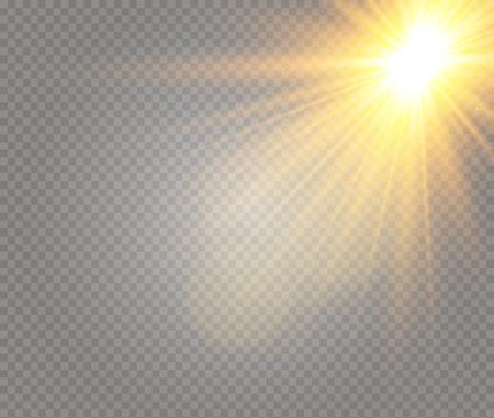 Sonnenlicht ein durchscheinendes spezielles Design des Lichteffekts. Vektorunschärfe im Licht der Ausstrahlung. Transparenter Hintergrund des isolierten Sonnenlichts. Element der Einrichtung. Horizontale Lichtstrahlen. Vektorgrafik