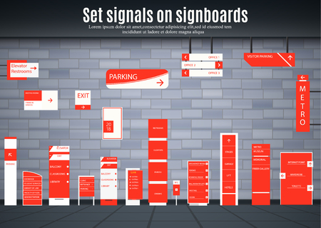 A set of signboards for business. Direction, wall mount and billboard design. A set of outdoor and indoor signs for advertising. a sign of a pylon, signboards, advertising construction of signboards. Stock Illustratie
