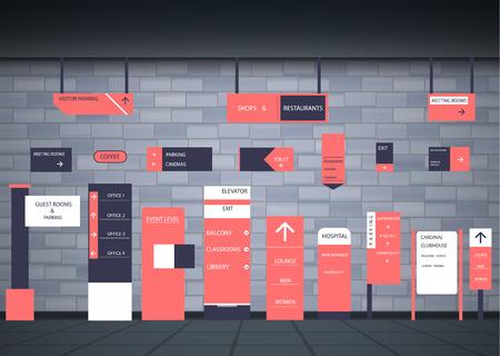 Un ensemble d'enseignes pour les entreprises. Conception de direction, support mural et panneau d'affichage. Un ensemble de panneaux extérieurs et intérieurs pour la publicité. une enseigne d'un pylône, des enseignes, la construction publicitaire d'enseignes. Vecteurs