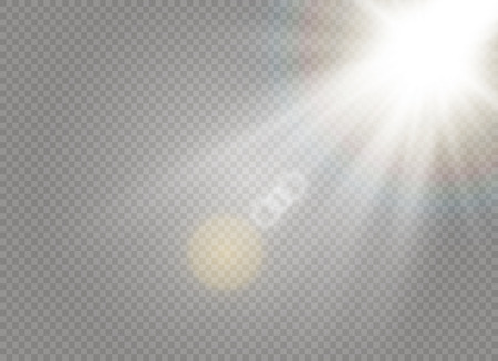Sonnenlicht ein durchscheinendes spezielles Design des Lichteffekts. Vektorunschärfe im Licht der Ausstrahlung. Transparenter Hintergrund des isolierten Sonnenlichts. Element der Einrichtung. Horizontale Lichtstrahlen.