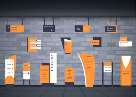 Un ensemble d'enseignes pour les entreprises. Conception de direction, support mural et panneau d'affichage. Un ensemble de panneaux publicitaires extérieurs et intérieurs. une enseigne d'un pylône, des enseignes, la construction publicitaire d'enseignes.