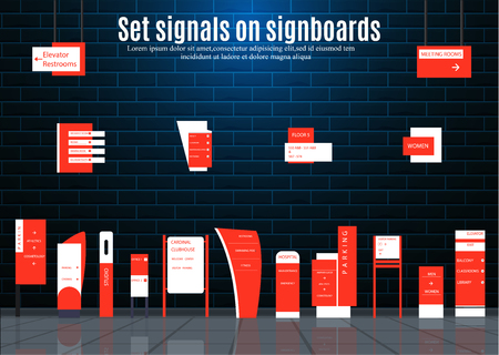 A set of signboards for business. Direction, wall mount and billboard design. A set of outdoor and indoor signs for advertising. a sign of a pylon, signboards, advertising construction of signboards.