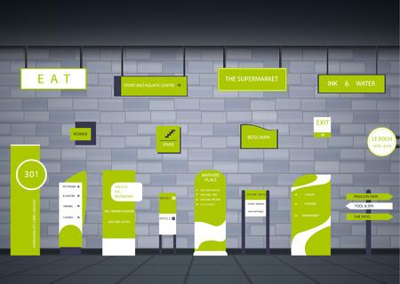 Un ensemble d'enseignes pour les entreprises. Direction, support mural et conception de panneau d'affichage. Un ensemble de panneaux publicitaires extérieurs et intérieurs. un signe d'un pylône, des enseignes, une construction publicitaire d'enseignes.