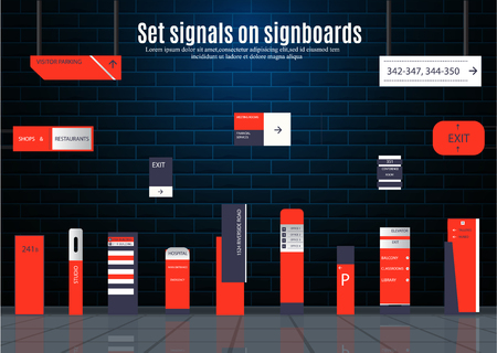 A set of signboards for business. Direction, wall mount and billboard design. A set of outdoor and indoor signs for advertising. a sign of a pylon, signboards, advertising construction of signboards. Ilustração Vetorial