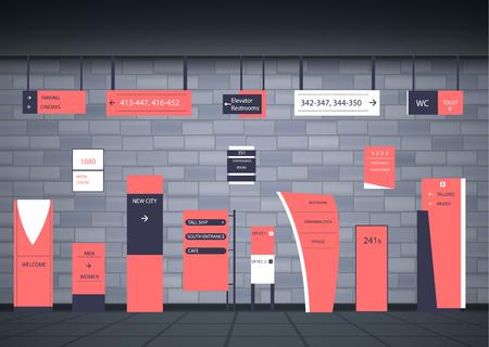 Un ensemble d'enseignes pour les entreprises. Conception de direction, support mural et panneau d'affichage. Un ensemble de panneaux publicitaires extérieurs et intérieurs. une enseigne d'un pylône, des enseignes, la construction publicitaire d'enseignes. Vecteurs