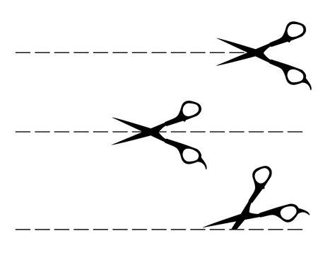 Vector scissors with cut line.Vector illustration .Black line three.