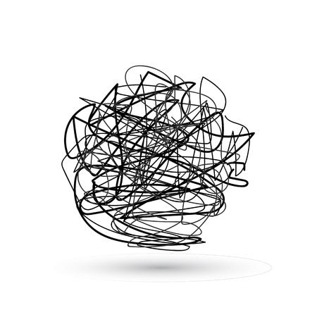 Línea desordenada loca Conjunto de símbolo de forma complicada con elemento redondo garabateado, signo de caos, pasar la flecha lineal de forma con ovillo o bola enredada en el centro. Ilustración vectorial.
