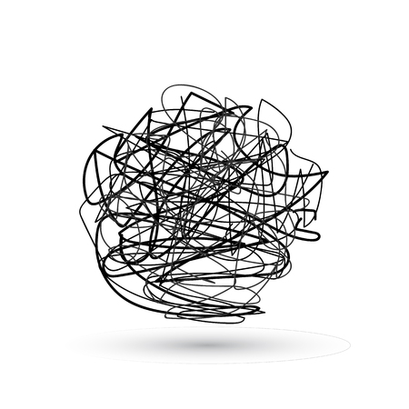 Szalony bałagan linii.Zestaw symbolu skomplikowanego sposobu z nabazgranym okrągłym elementem, znakiem chaosu, podaj liniową strzałkę z rogami lub plątaniną w środku. Ilustracja wektorowa.