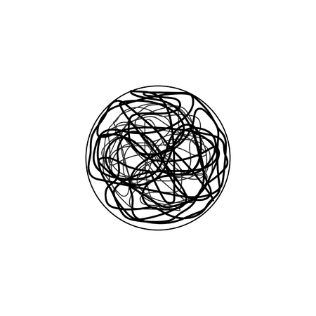 Insane messy line.Set of symbol of complicated way with scribbled round element, chaos sign, pass the way linear arrow with clew or tangle ball in center. Vector illustration.