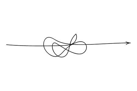 Insane messy line.Set of symbol of complicated way with scribbled round element, chaos sign, pass the way linear arrow with clew or tangle ball in center. Vector illustration. Ilustracje wektorowe