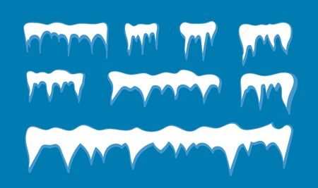 Set of snow icicles, snow cap isolated. Snowy elements on winter background. Vector template in cartoon style Banco de Imagens - 132234054