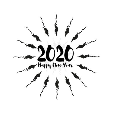 Happy 2020 New Year Greeting Card. Holiday vector illustration with lettering composition with splash typographic emblems set. Vector logo, text design. Used for banners, greeting cards.