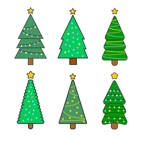 Collection of Christmas trees, modern flat design. Different christmas tree set, vector illustration. Can be used for greeting card, invitation, banner, web design. Banco de Imagens - 132234063
