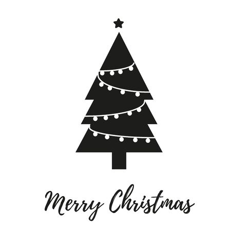 Christmas tree, modern flat design. Can be used for greeting card, invitation, banner, web design. 写真素材